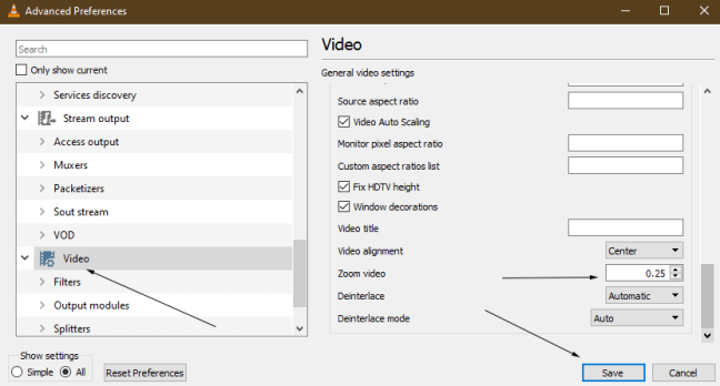 Video Zoom through Advanced Preferences