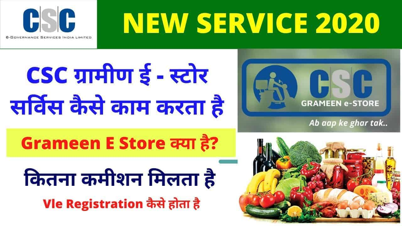 CSC Grameen E store Service Full Detail with Vle Comission
