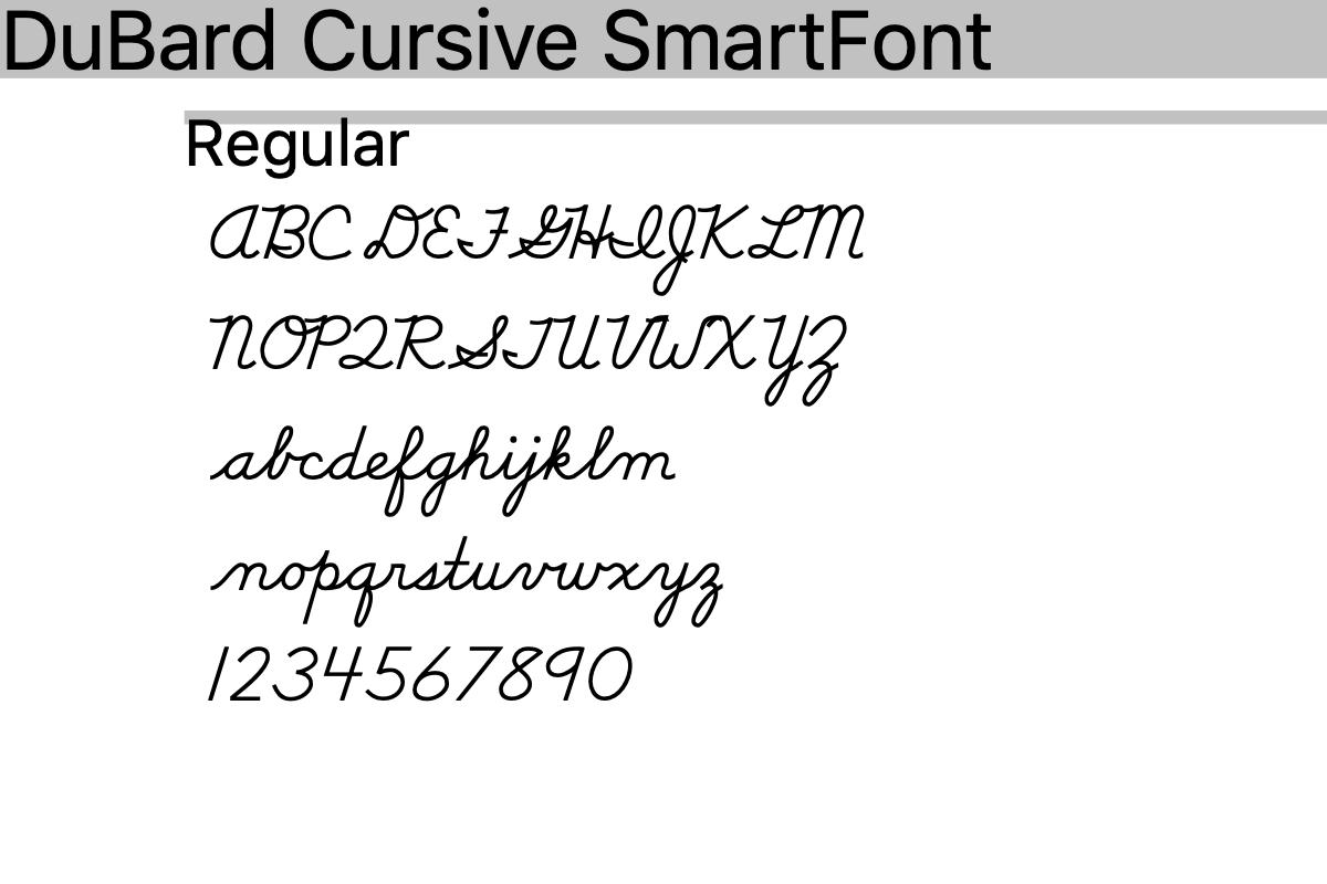 Dubard Association Method Cursive Handwriting Font