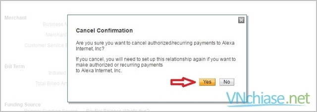 hủy tự động thanh toán paypal