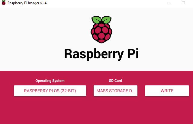 Raspberry Pi Imager VI .4  Raspberry Pi  Operating System  RASPBERRY PI OS (32-BIT)  SD Card  MASS STORAGE  WRITE