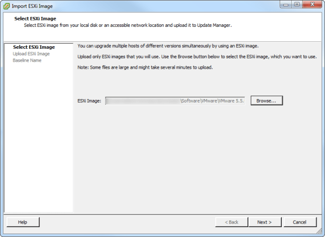 Update Manager Import ISO Image Select Image