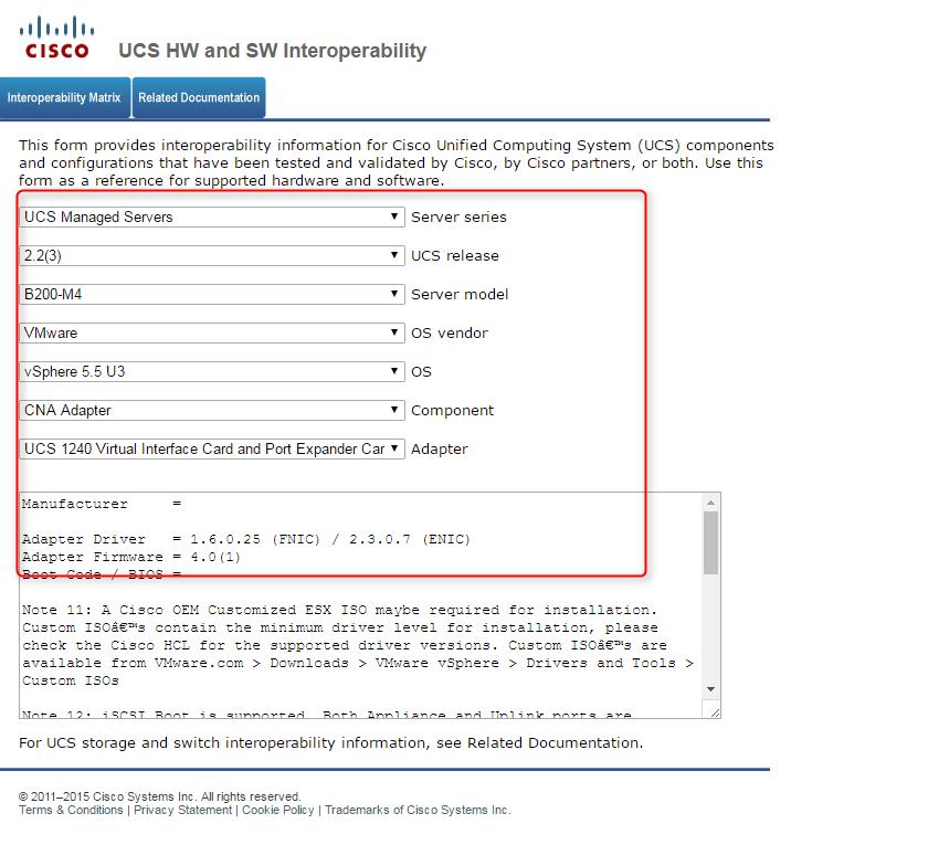 enic and fnic compatibility matix