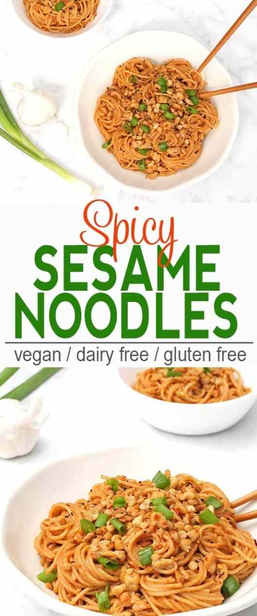 Spicy Sesame Noodles | Vegan, Dairy Free, Gluten Free | These Spicy Sesame Noodles are a quick and tasty dish for dinner! | From @V_Nutrition | www.vnutritionandwellness.com