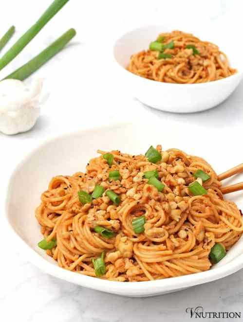 Spicy Sesame Noodles | These Spicy Sesame Noodles are perfect when you have a craving for Asian noodles but want a little kick!