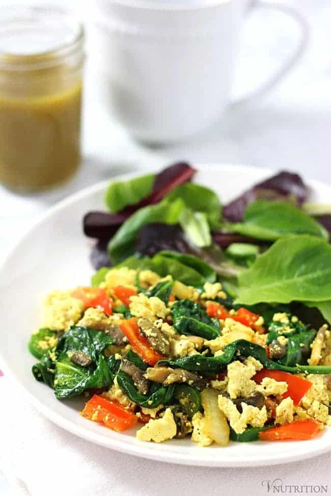 Simple Tofu Scramble | A quick, healthy, easy breakfast recipe - ready in about 10 minutes! Tofu Recipe - vegan, gluten-free, dairy-free