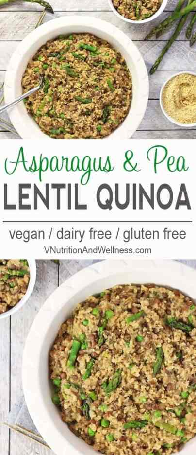 One-Pot Lentil Quinoa with Asparagus and Peas | This One-Pot Lentil Quinoa is a tasty whole-foods dish using spring produce. It's a one-pot meal so there's not much cleanup - it's a win-win! vegan, gluten-free, dairy-free, quinoa recipe