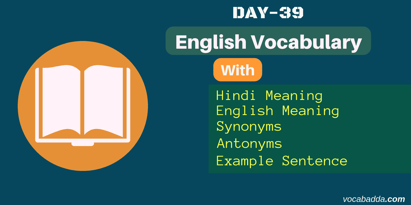 Important vocabulary word list with example sentence Day-39