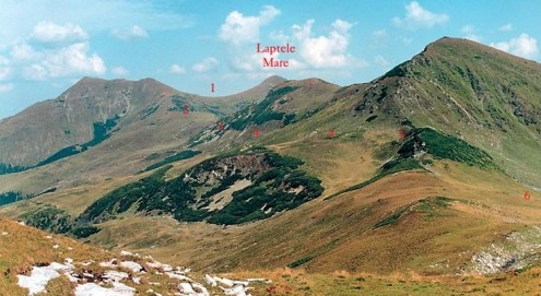 1 - Şaua Pusdrele-2 - Tarniţa Bârsanului-3 - zona La Oase-4 - traseu de ocolire-5 - zona La Cărţi-6 - spre Lacul La Cărţi muntii rodnei romania natura