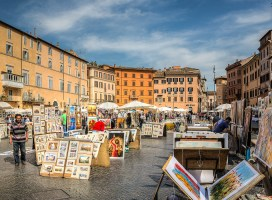 Trg Navona u Rimu - slikarska kolonija (foto: LorenzoClick)