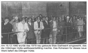 Inbetriebnahme Blasstahlwerk (Quelle: Saarstahl AG)