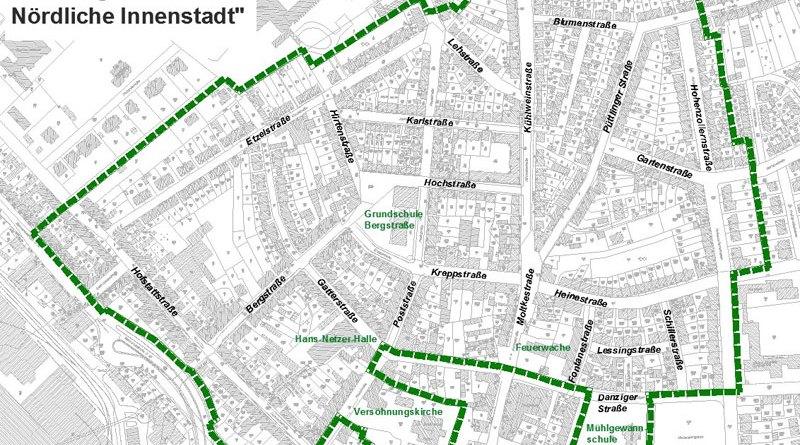 Abgrenzung Soziale-Stadt Nördliche-Innenstadt (Grafik: Stadt VKL)