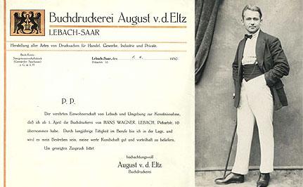 Gründungsunterlage und August von der Eltz © Druckerei von der Eltz