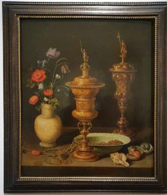 Clara Peeters: Stillleben mit Blumen und Goldpokalen, 1612