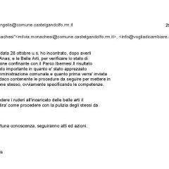 L'assessore De Angelis invia una email in merito al Torrione