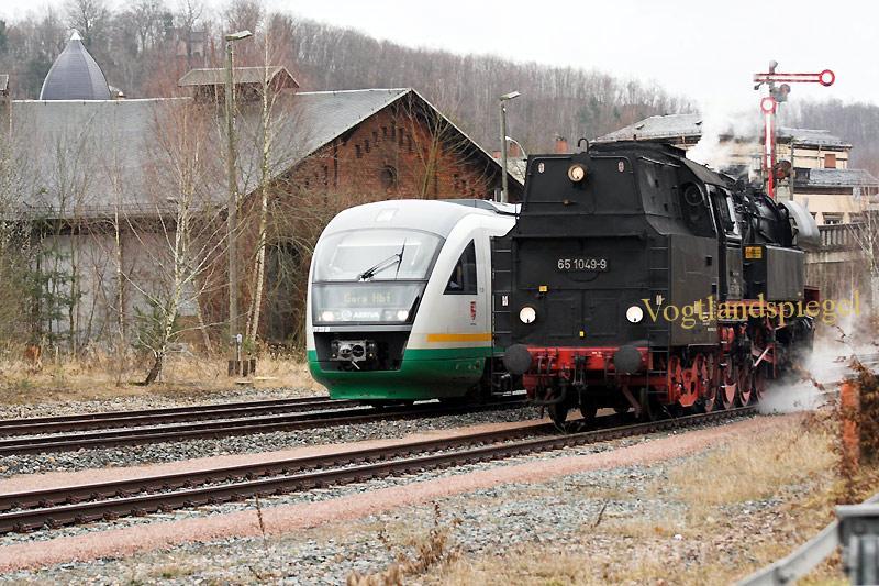 Dampfgüterzug in Greiz am 15 .03.2009
