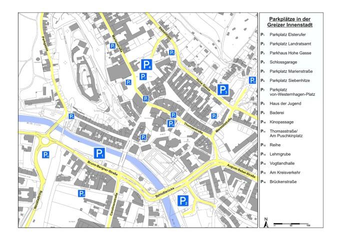 Übersicht der Parkplätze in Greiz