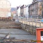 Die Baugrube im Goethepark, für den Bau der neuen Stadthalle Greiz