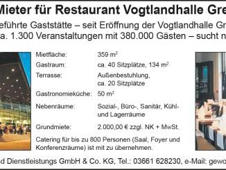 Betreiber/Mieter für Restaurant Vogtlandhalle Greiz gesucht