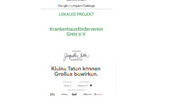 Urkunde der Google Impact Challenge