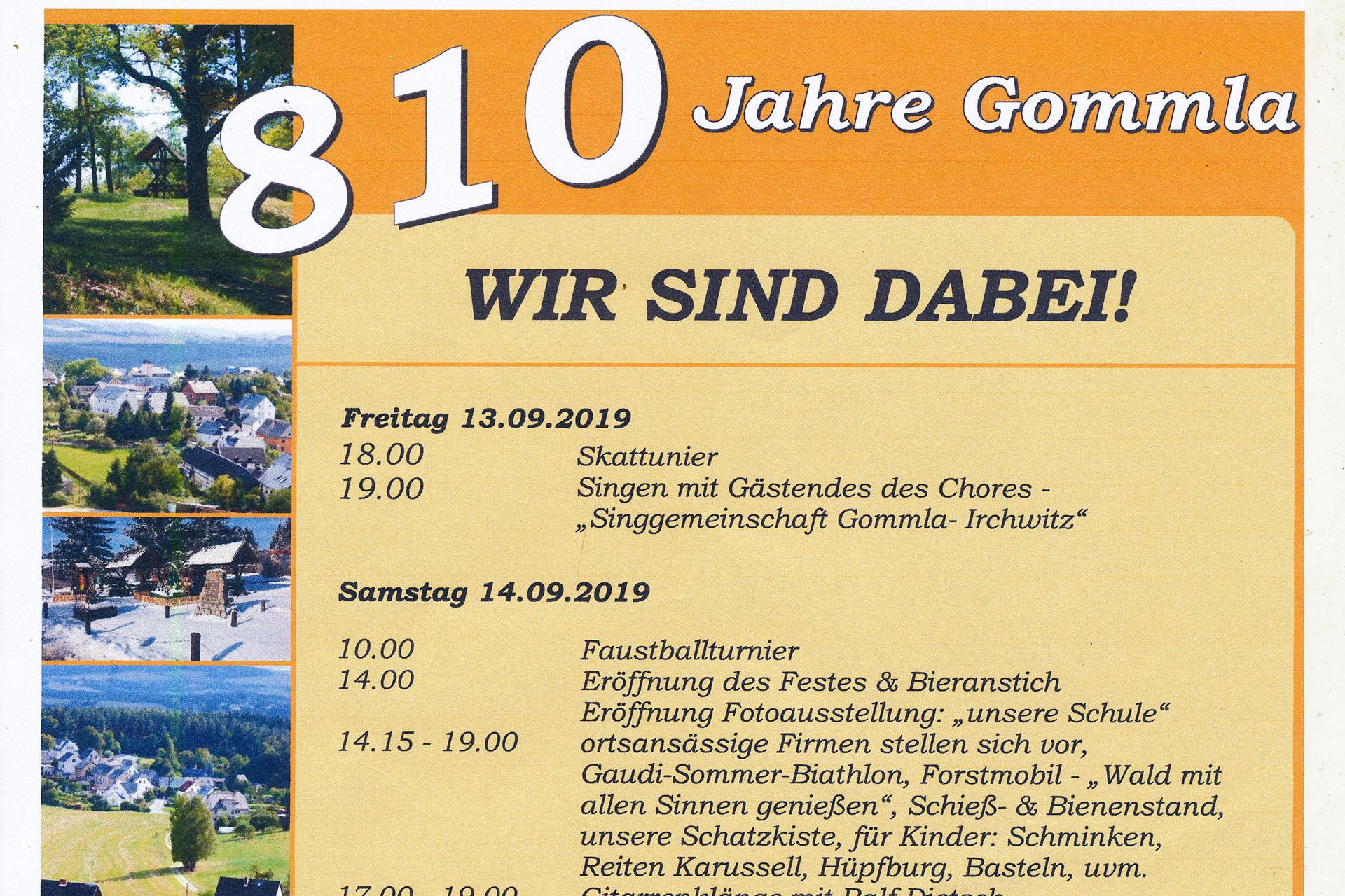 Gommla feiert 810-jähriges Jubiläum der urkundlichen Ersterwähnung