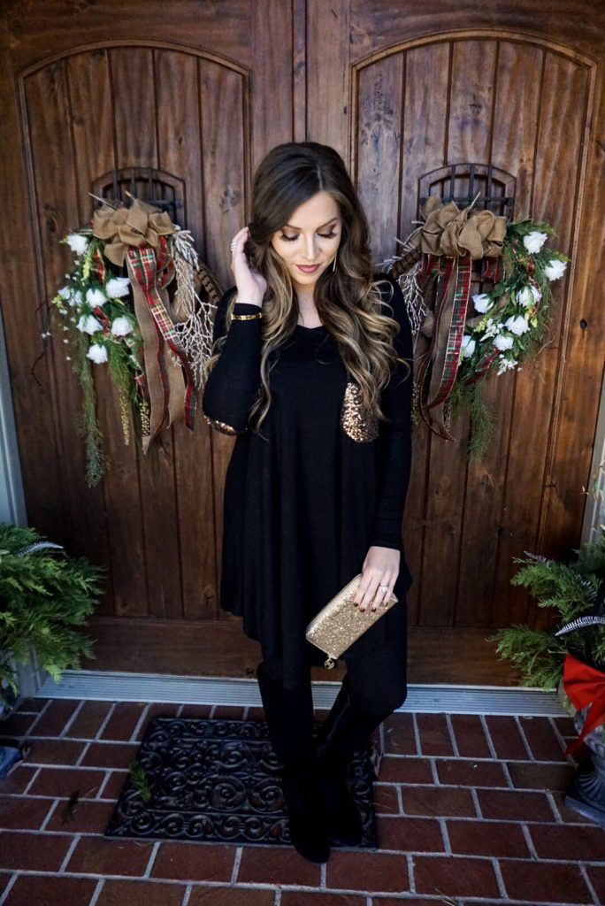 gold and black sequin tunic