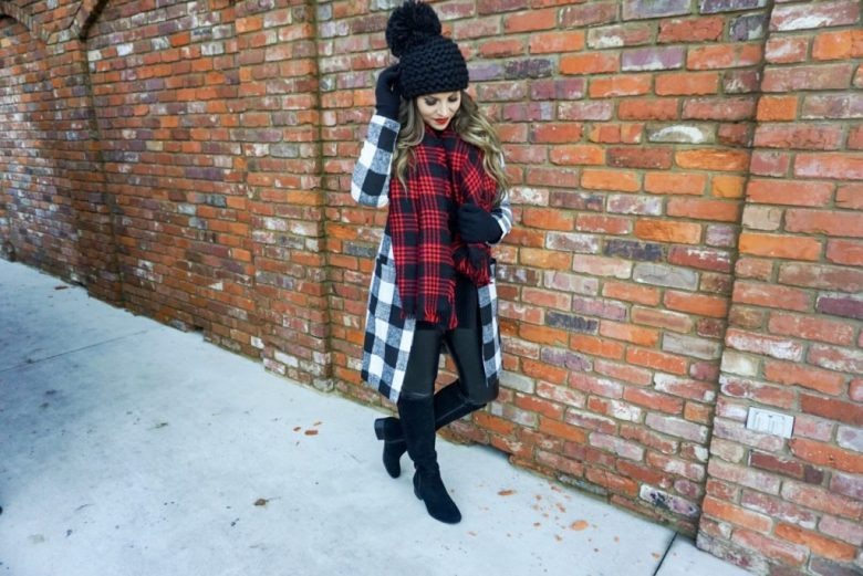 shein buffalo plaid coat