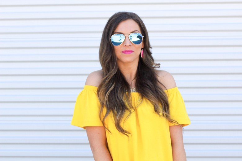 off-the-shoulder-dress-yellow