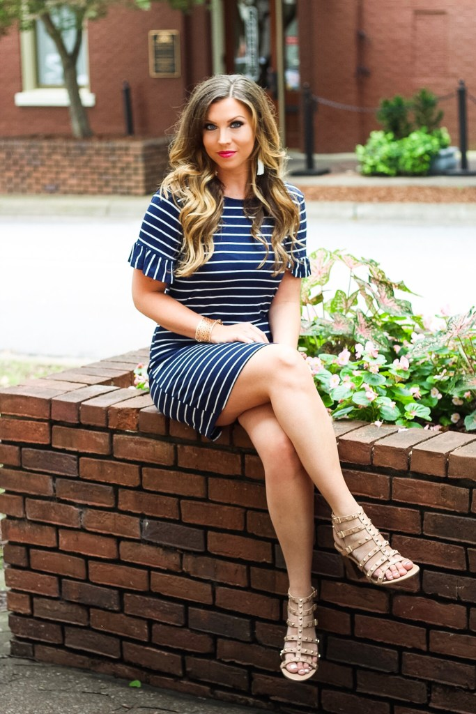white-and-navy-striped-dress