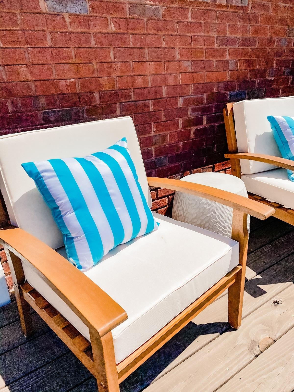 outdoor pillows, cushions, patio