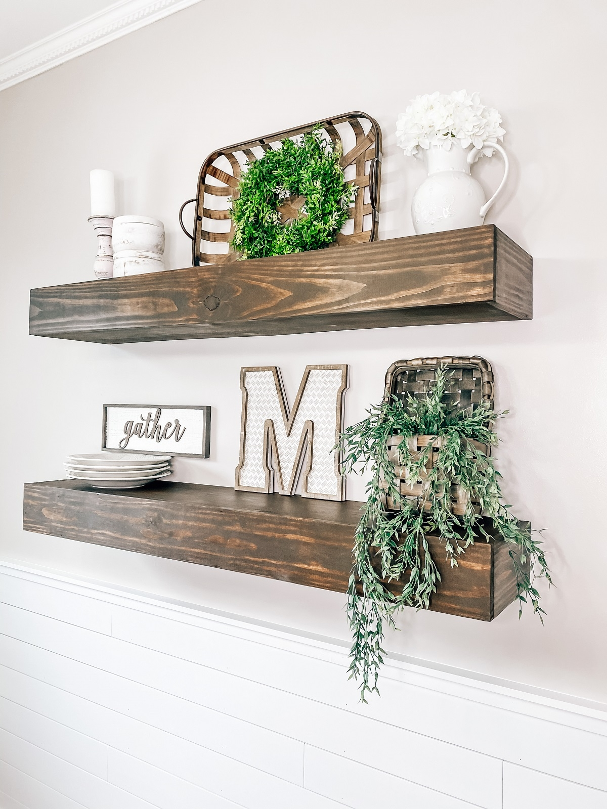 fall wall décor on floating shelves