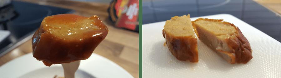 Detailansicht der Bratwurst von der Mühlen Currywurst