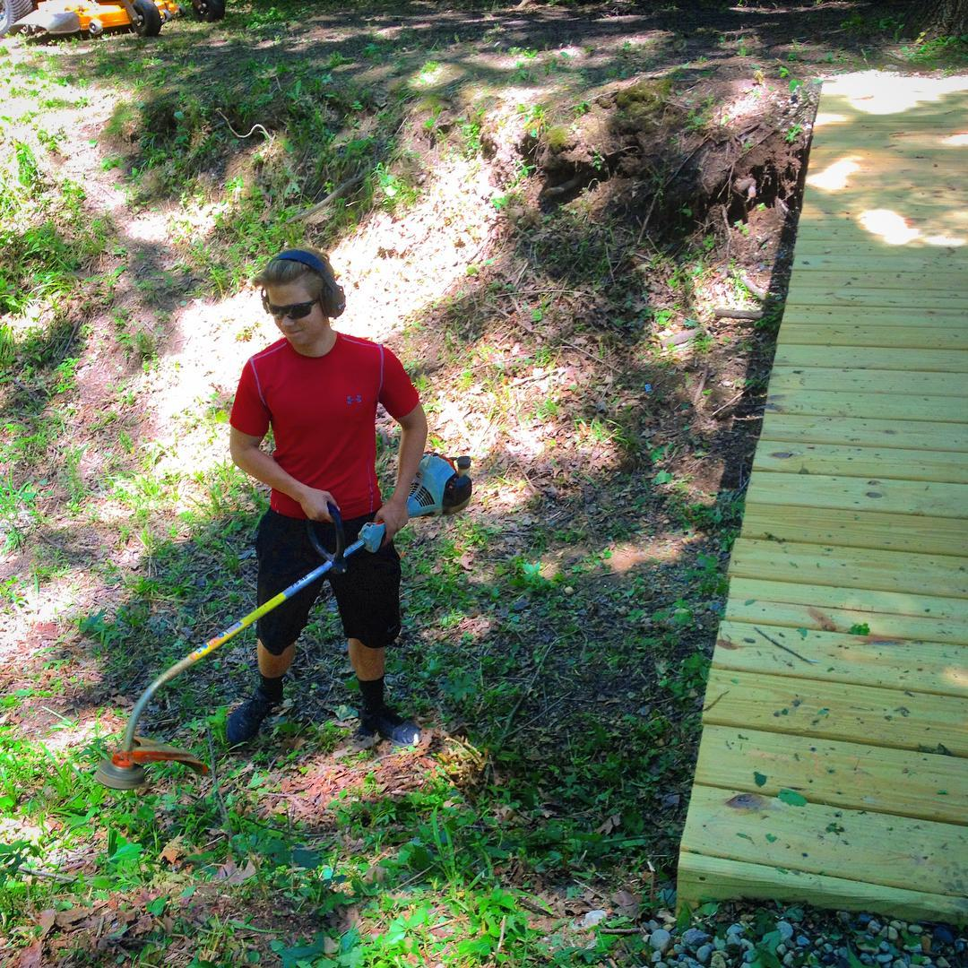 Caleb, doing some trimming… Got to keep the place looking spiffy :-) #VoiceMinistries #voiceministriescamp
