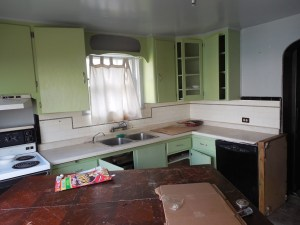 ramshackle, filthy kitchen with doors hanging open and cupboards in two tones of mint green
