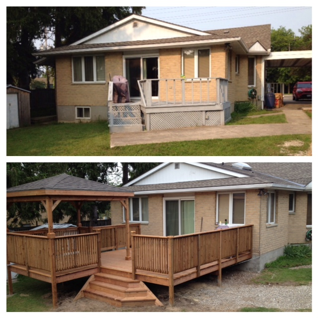 before photo on top shows small balcony-sized light gre deck. After shows large 16 x 16 deck with cascading staircase and a gazebo with a roof that matches the house