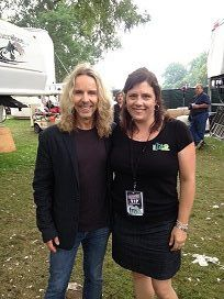 Tommy Shaw and me, among trailers backstage at Rock the Park
