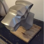 side view of dog head sculpture