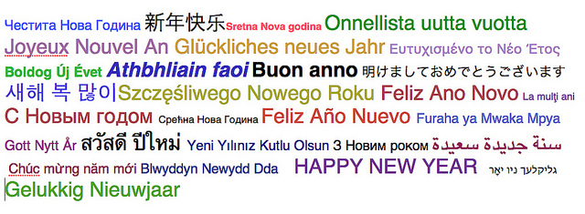 a collage of Happy New Year in dozens of languages