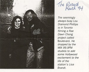 A clipping from The Record dated March 1994 with me and Lou Diamond Phillips and a little blurb about his visit to the radio station