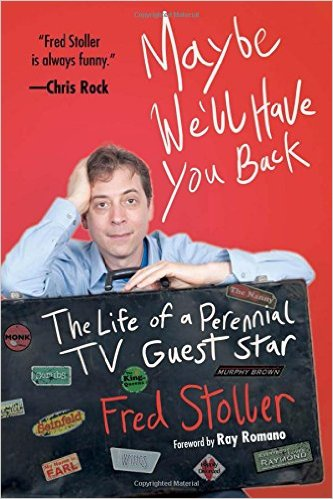 red cover with the author leaning on a blackboard that reads, The Life of a Perennial TV Guest Star