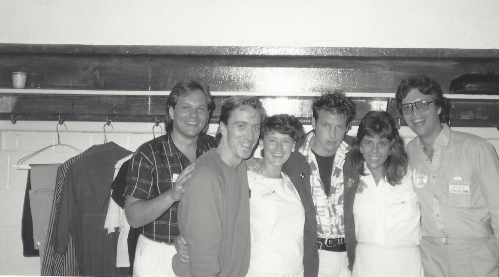 A bunch of us together with Corey Hart backstage at his concert