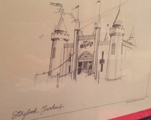 Detailed pencil sketch of Storybook Gardens' entrance