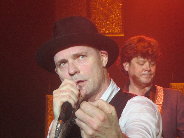 Close-up of Gord Downie singing in concert 2 years ago