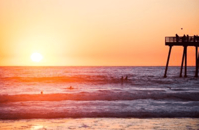 photo of a sunset over a calm beach