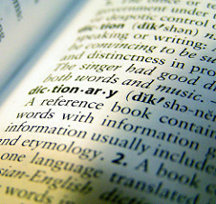 a dictionary opened to the page that shows the word dictionary