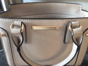 light grey satchel handbag front