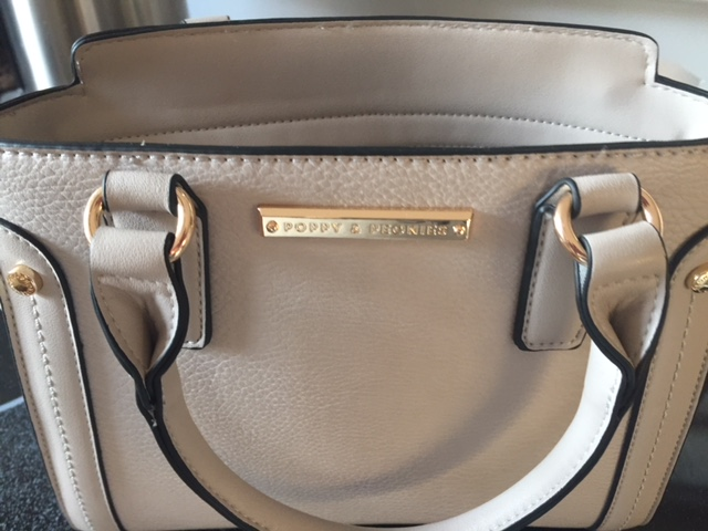 light grey satchel handbag front