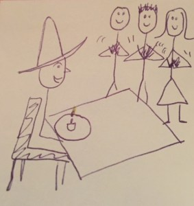 stick figure drawing of Rob wearing a big hat sitting in front of a cupcake with a lit candle in it and three people clapping