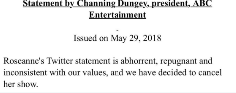 one sentence tweet from ABC calls Roseanne's comments abhorrent, repugnant and inconsistent with the network's values, and says it has cancelled the show