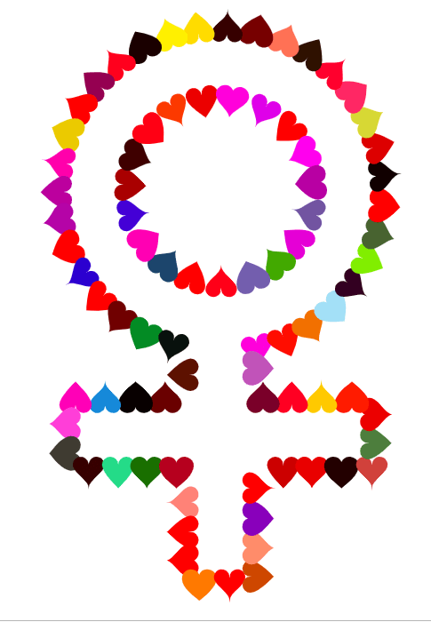 clipart symbol for women in a variety of coloured hearts